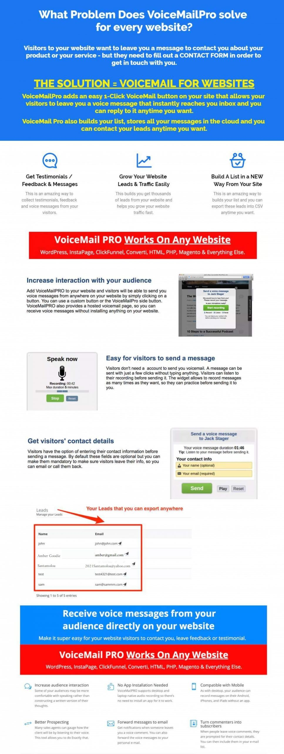 VoiceMail Pro For Websites